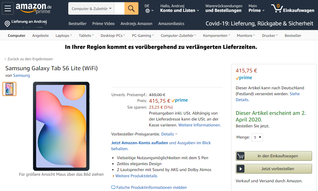 Samsung Galaxy Tab S6 Lite up for preorder